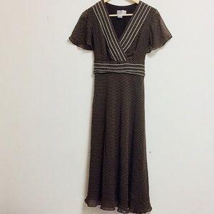 Adrianna Papell Brown Polka Dot Maxi Dress (12)